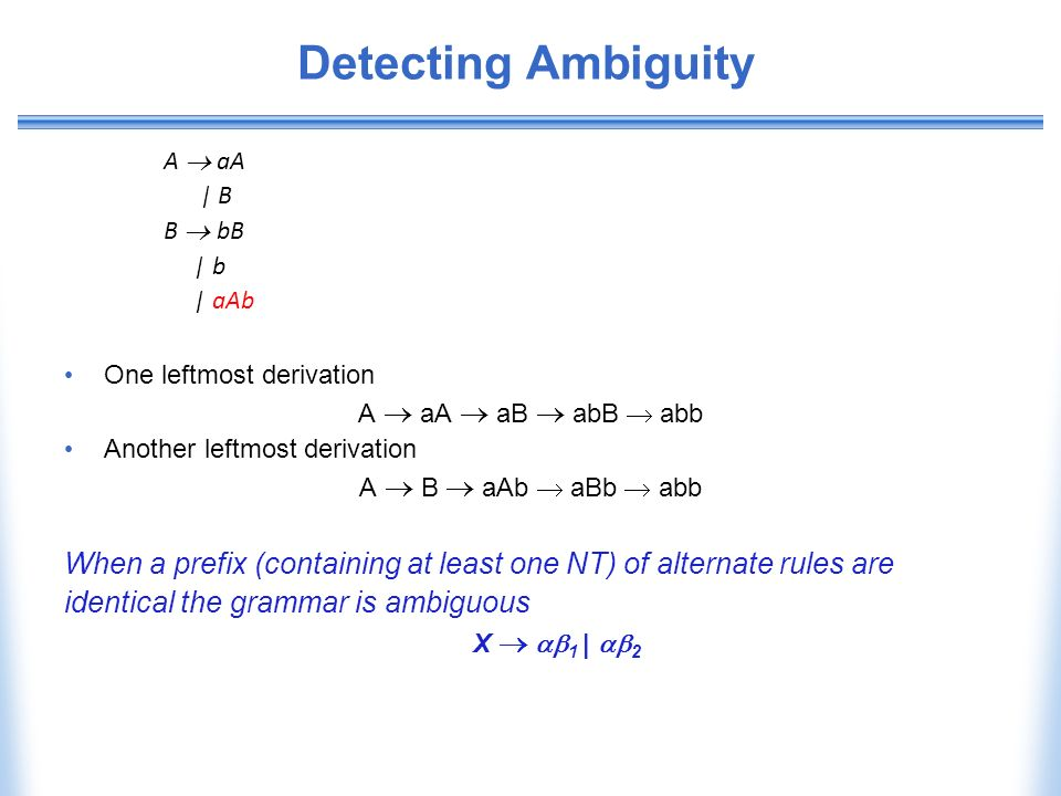 Detecting Ambiguity A  aA. | B. B  bB. | b. | aAb. One leftmost derivation. A  aA  aB  abB  abb.