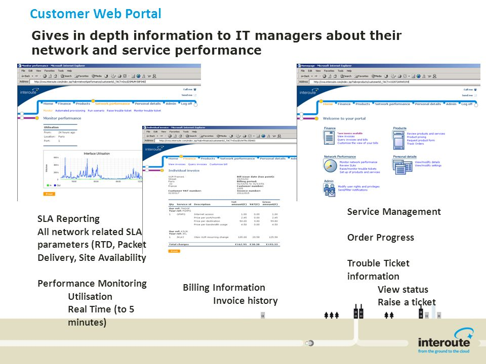 Customer Web Portal Gives in depth information to IT managers about their network and service performance.