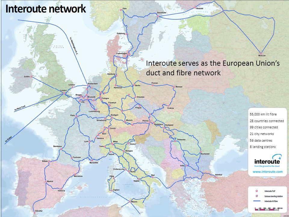 Interoute serves as the European Union's duct and fibre network