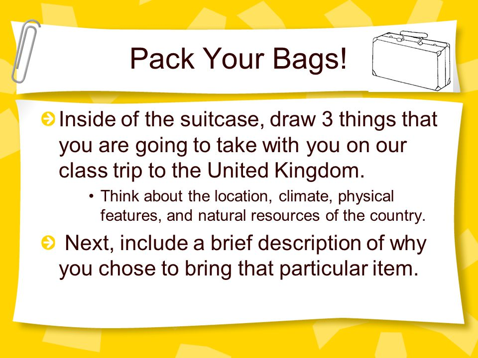 Pack Your Bags! Inside of the suitcase, draw 3 things that you are going to take with you on our class trip to the United Kingdom.