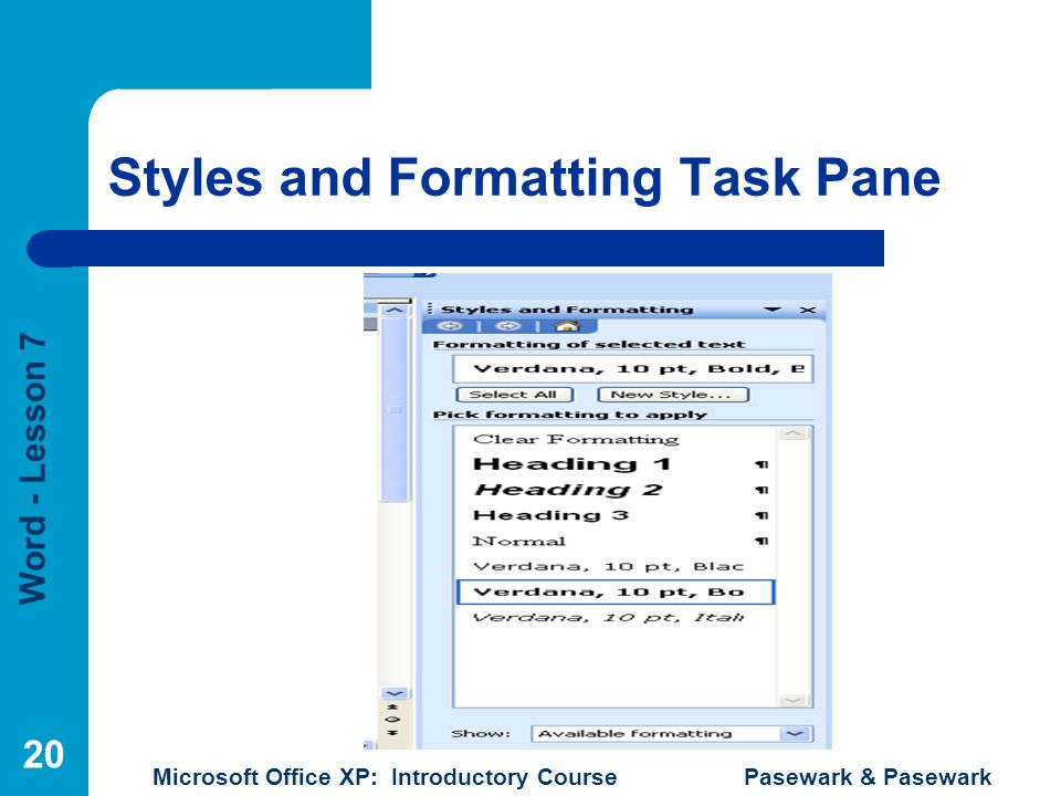 Styles and Formatting Task Pane