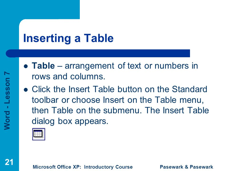 Inserting a Table Table – arrangement of text or numbers in rows and columns.