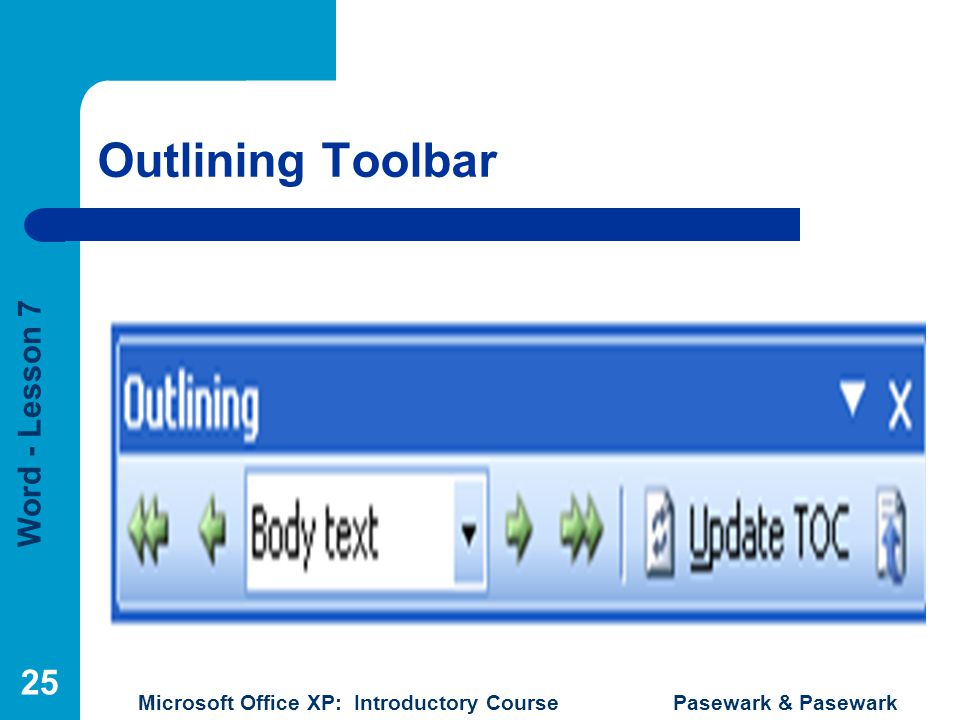 Outlining Toolbar