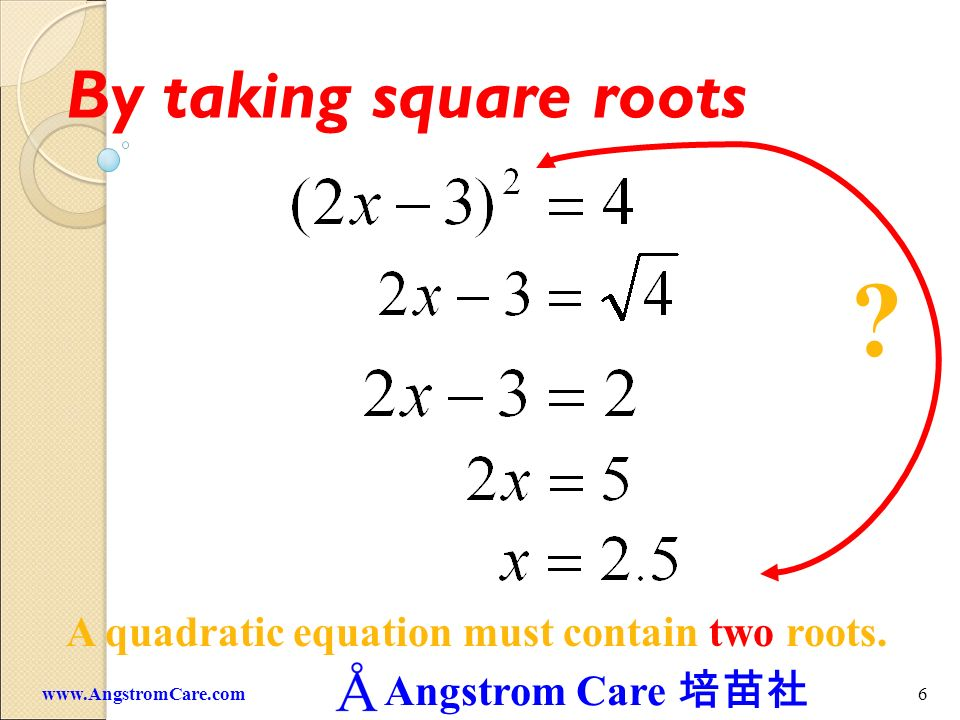 By taking square roots A quadratic equation must contain two roots.