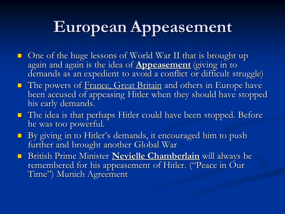 European Appeasement