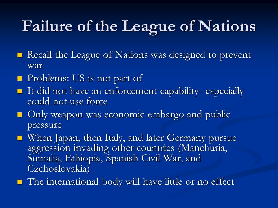 Failure of the League of Nations