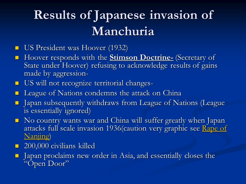 Results of Japanese invasion of Manchuria