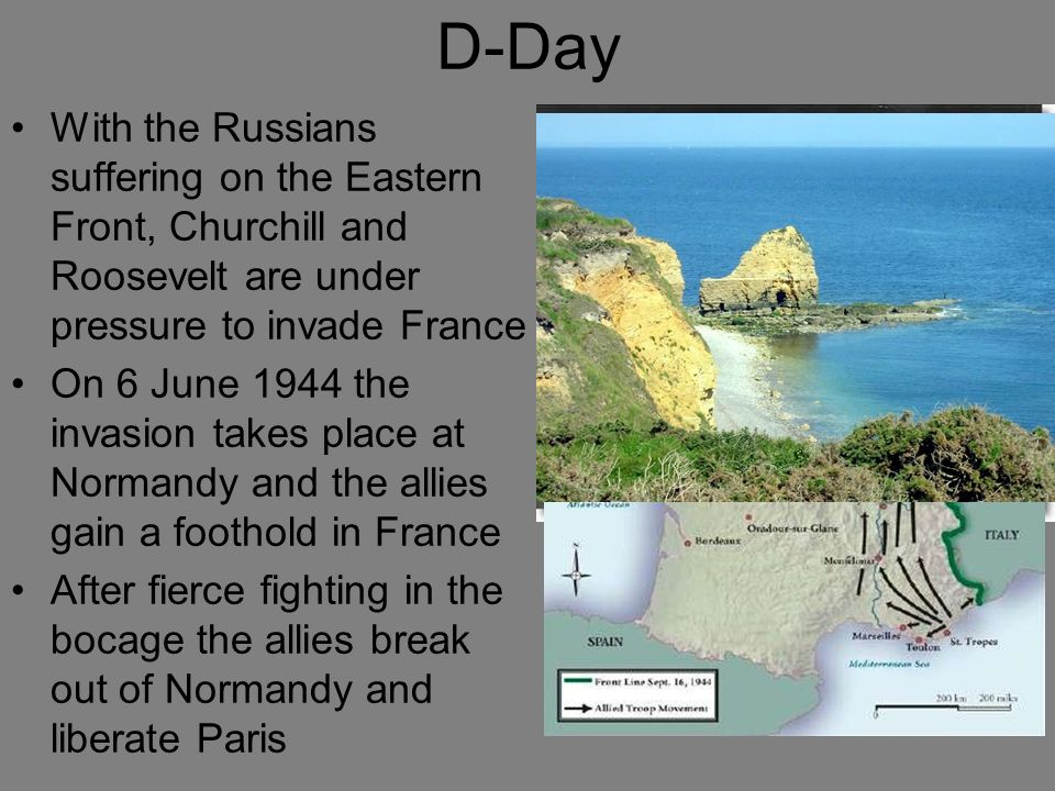 D-Day With the Russians suffering on the Eastern Front, Churchill and Roosevelt are under pressure to invade France.