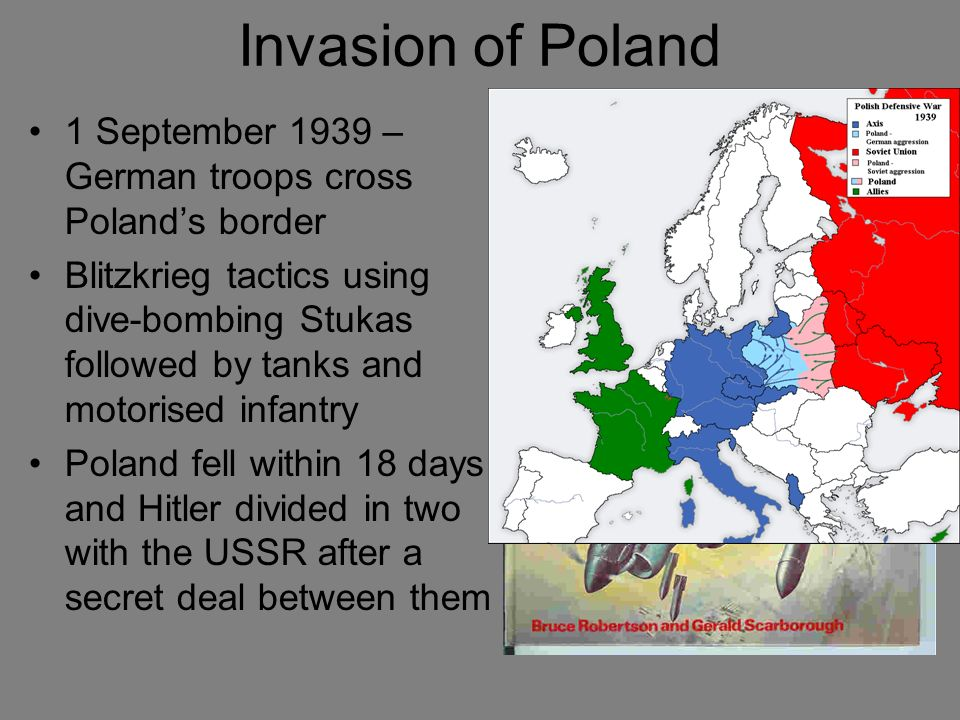 Invasion of Poland 1 September 1939 – German troops cross Poland's border.
