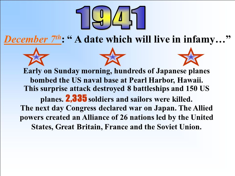 December 7th: A date which will live in infamy…