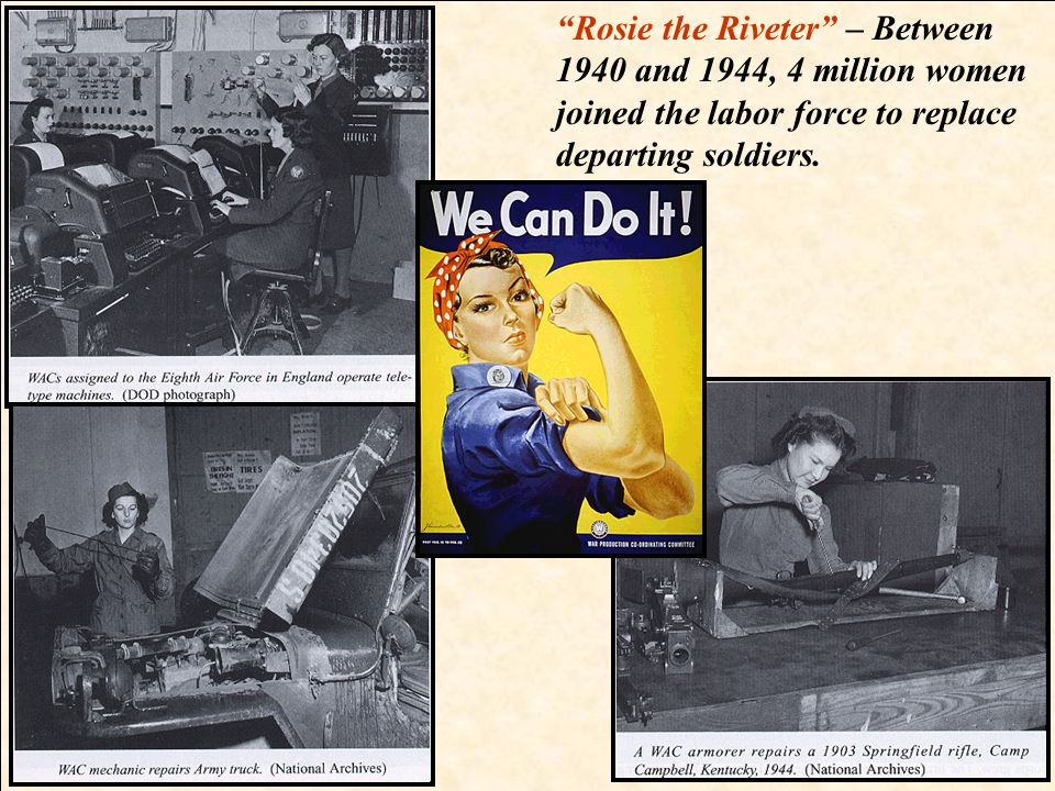 Rosie the Riveter – Between 1940 and 1944, 4 million women joined the labor force to replace departing soldiers.
