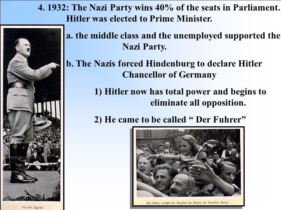 : The Nazi Party wins 40% of the seats in Parliament