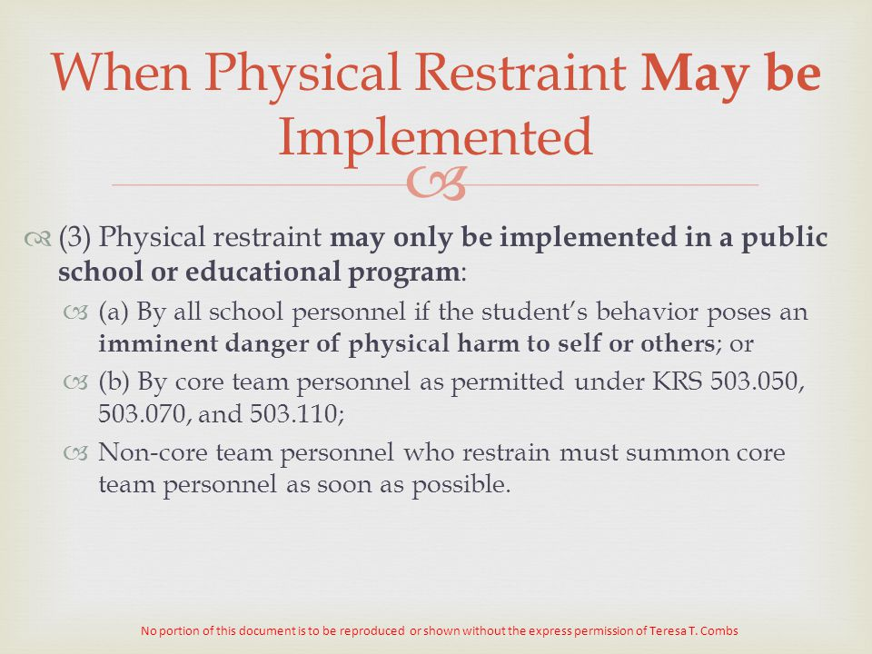 Restraint & Seclusion in the Public Schools - ppt download