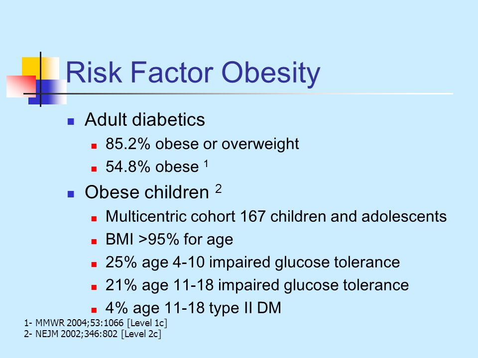 Risk Factor Obesity Adult diabetics Obese children 2