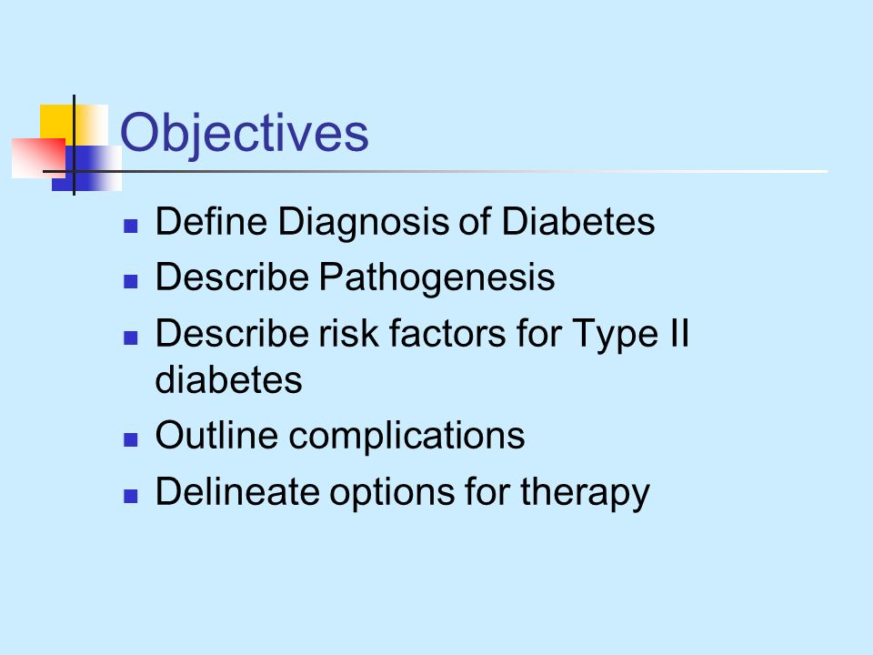 Objectives Define Diagnosis of Diabetes Describe Pathogenesis