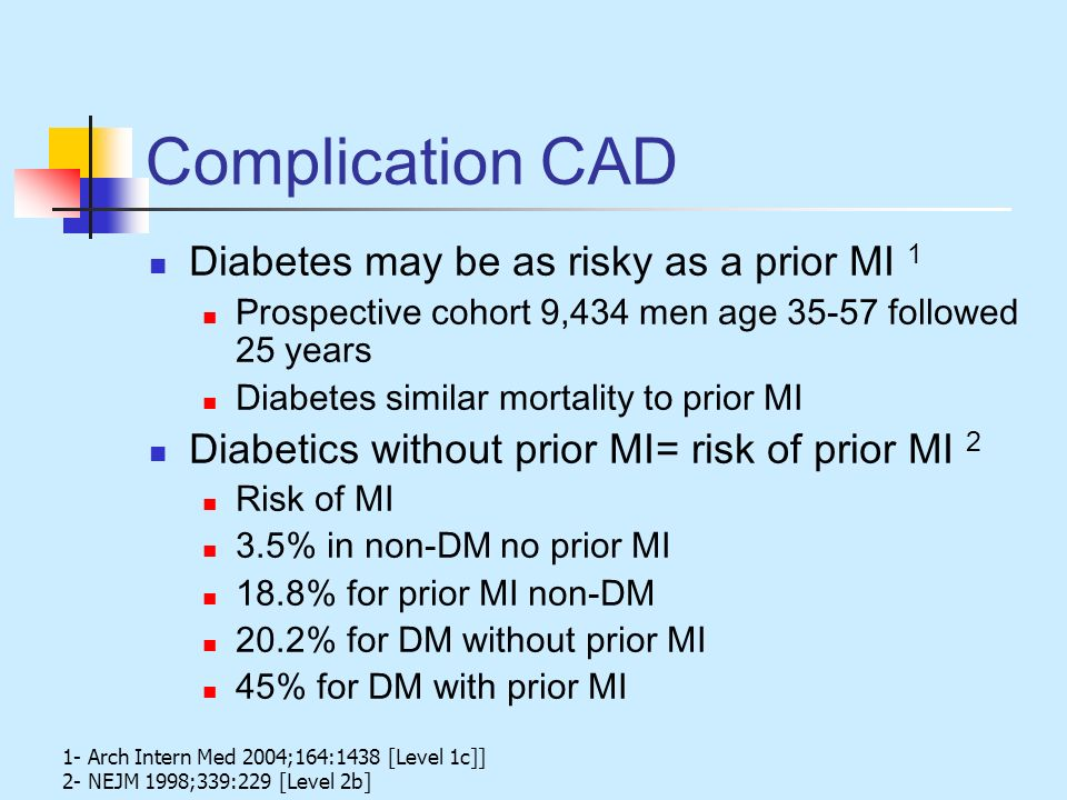 Complication CAD Diabetes may be as risky as a prior MI 1