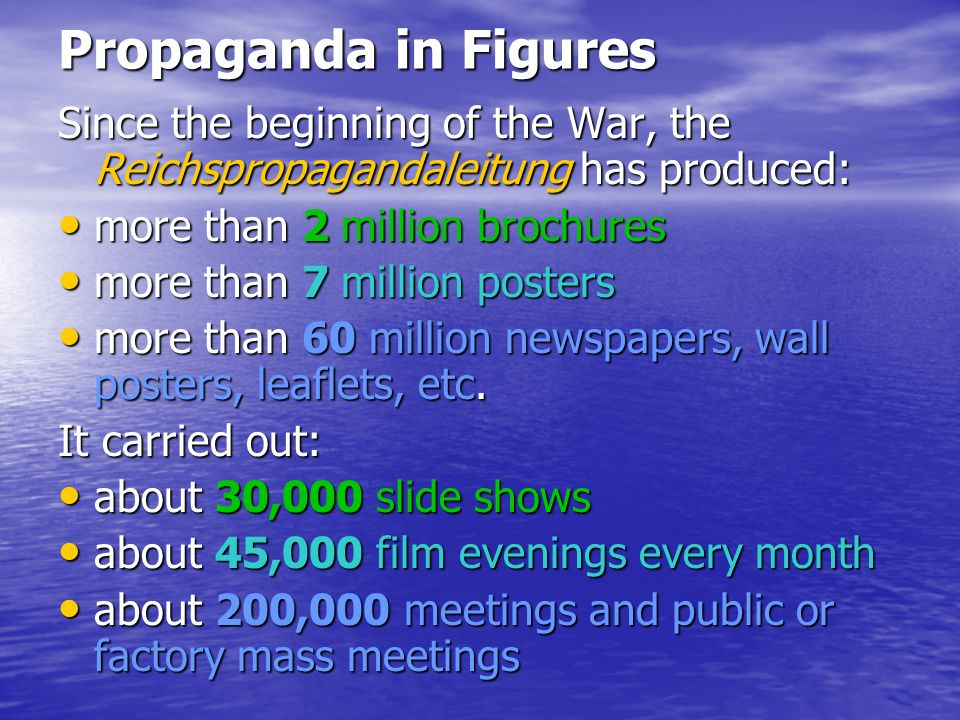 Propaganda in Figures Since the beginning of the War, the Reichspropagandaleitung has produced: more than 2 million brochures.