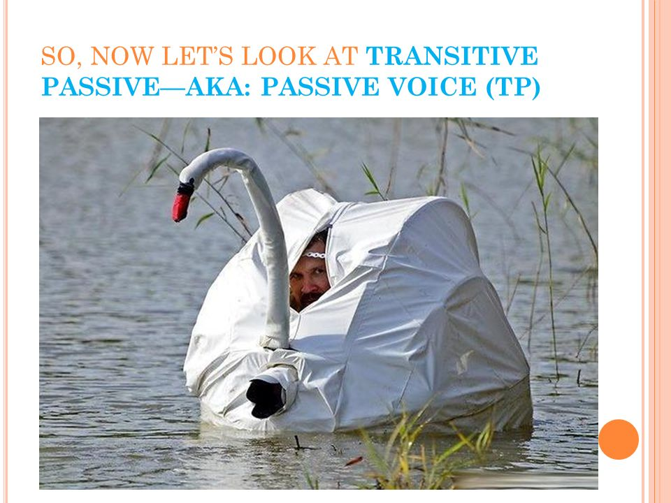 SO, NOW LET'S LOOK AT TRANSITIVE PASSIVE—AKA: PASSIVE VOICE (TP)
