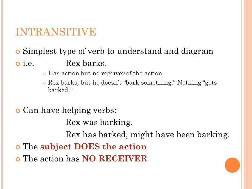 INTRANSITIVE Simplest type of verb to understand and diagram