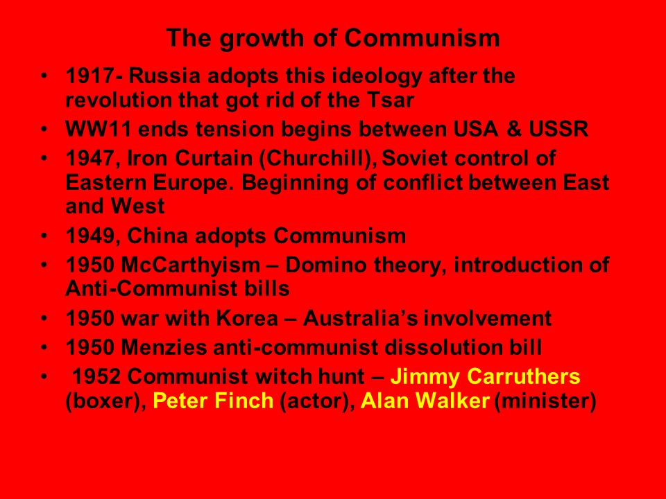 The growth of Communism