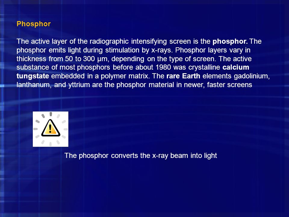 The phosphor converts the x-ray beam into light