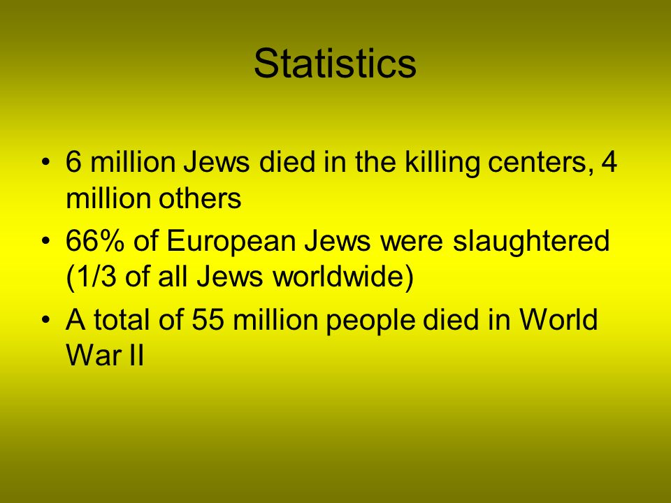Statistics 6 million Jews died in the killing centers, 4 million others. 66% of European Jews were slaughtered (1/3 of all Jews worldwide)
