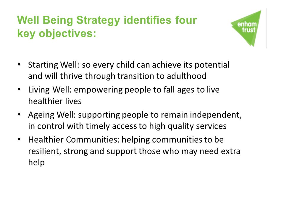 Well Being Strategy identifies four key objectives: