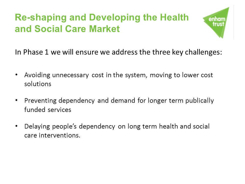 Re-shaping and Developing the Health and Social Care Market