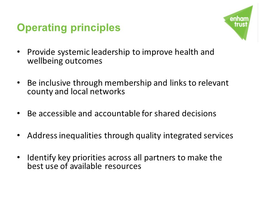 Operating principles Provide systemic leadership to improve health and wellbeing outcomes.