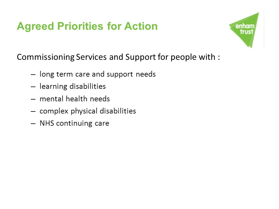 Agreed Priorities for Action