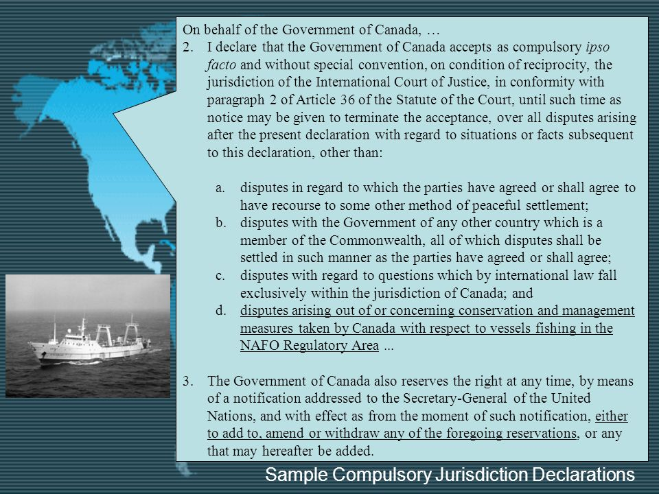 Sample Compulsory Jurisdiction Declarations
