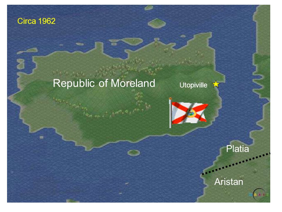 Circa 1962 Republic of Moreland Utopiville Platia Aristan