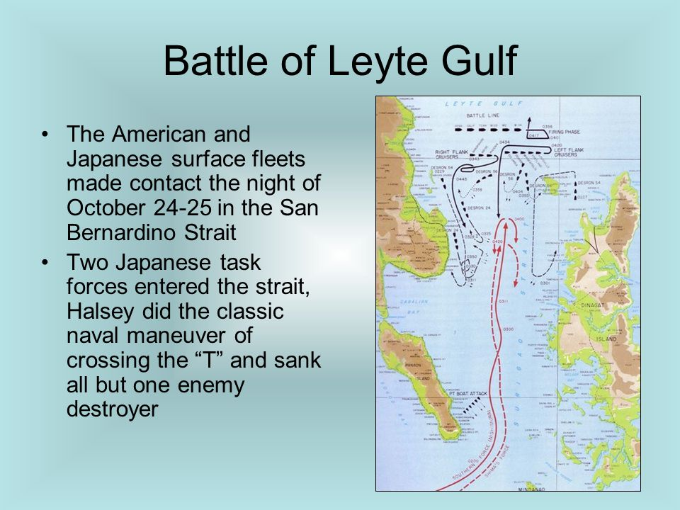 Battle of Leyte Gulf The American and Japanese surface fleets made contact the night of October 24-25 in the San Bernardino Strait.