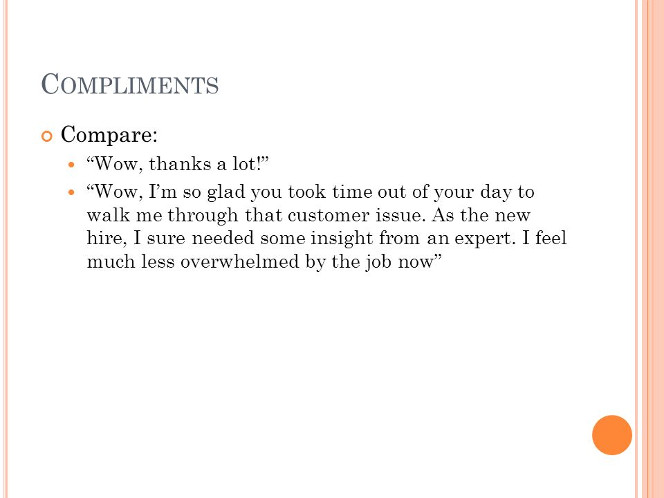 Compliments Compare: Wow, thanks a lot!