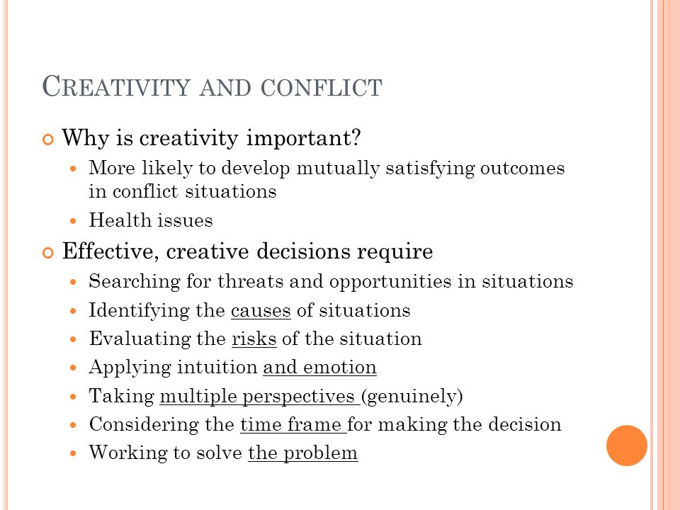 Creativity and conflict