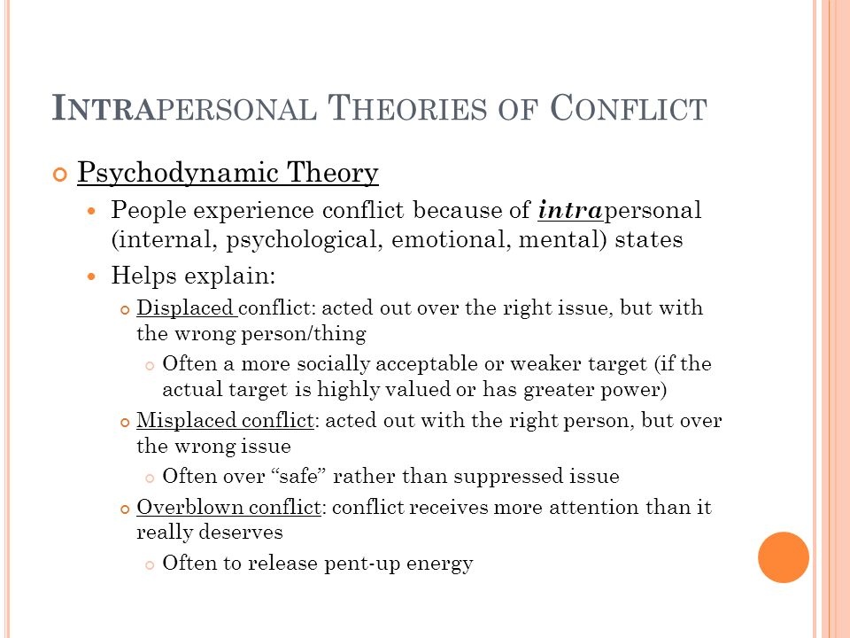 Intrapersonal Theories of Conflict