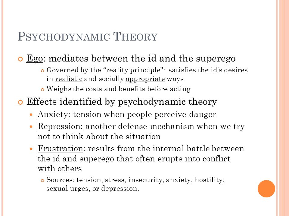 Psychodynamic Theory Ego: mediates between the id and the superego