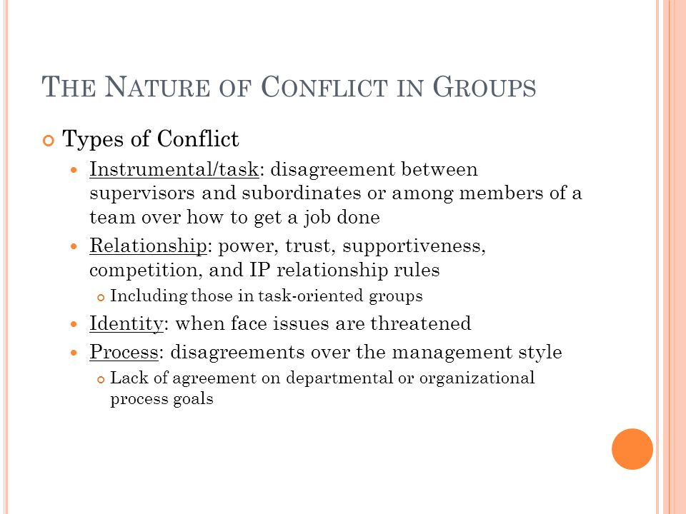 The Nature of Conflict in Groups