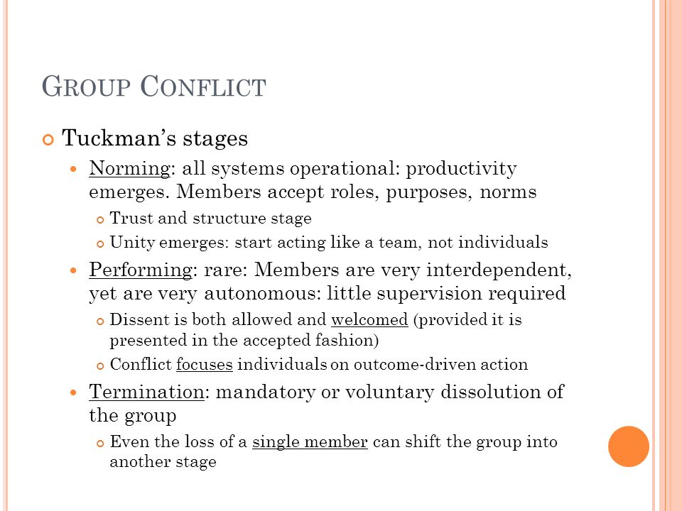 Group Conflict Tuckman's stages