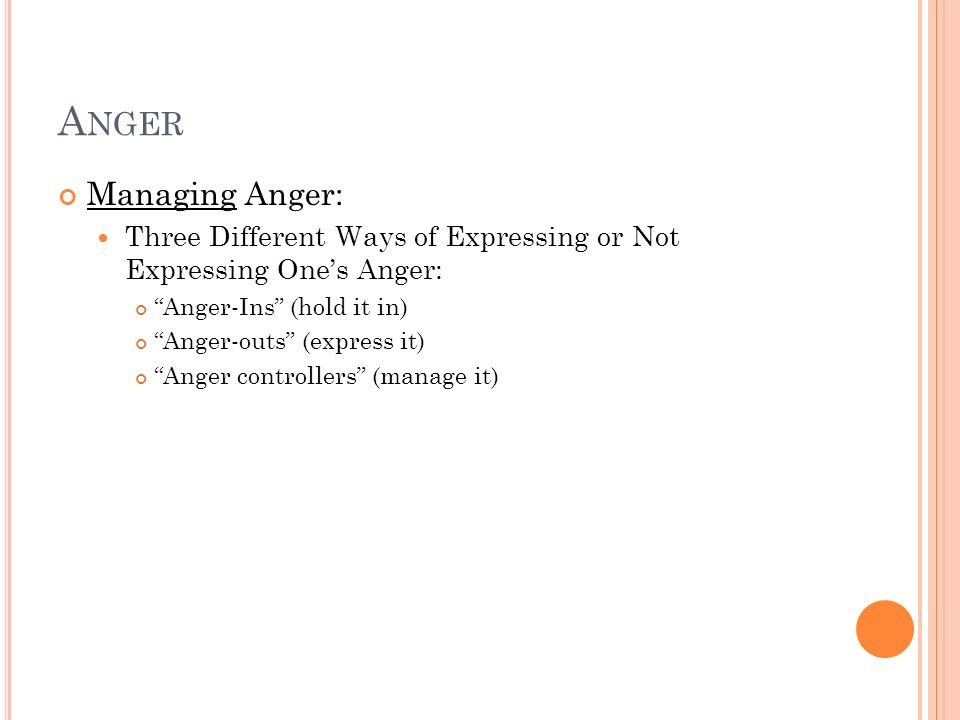 Anger Managing Anger: Three Different Ways of Expressing or Not Expressing One's Anger: Anger-Ins (hold it in)