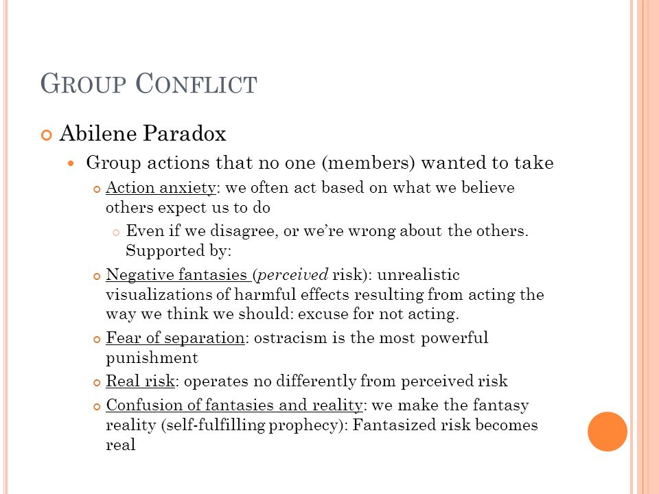 Group Conflict Abilene Paradox
