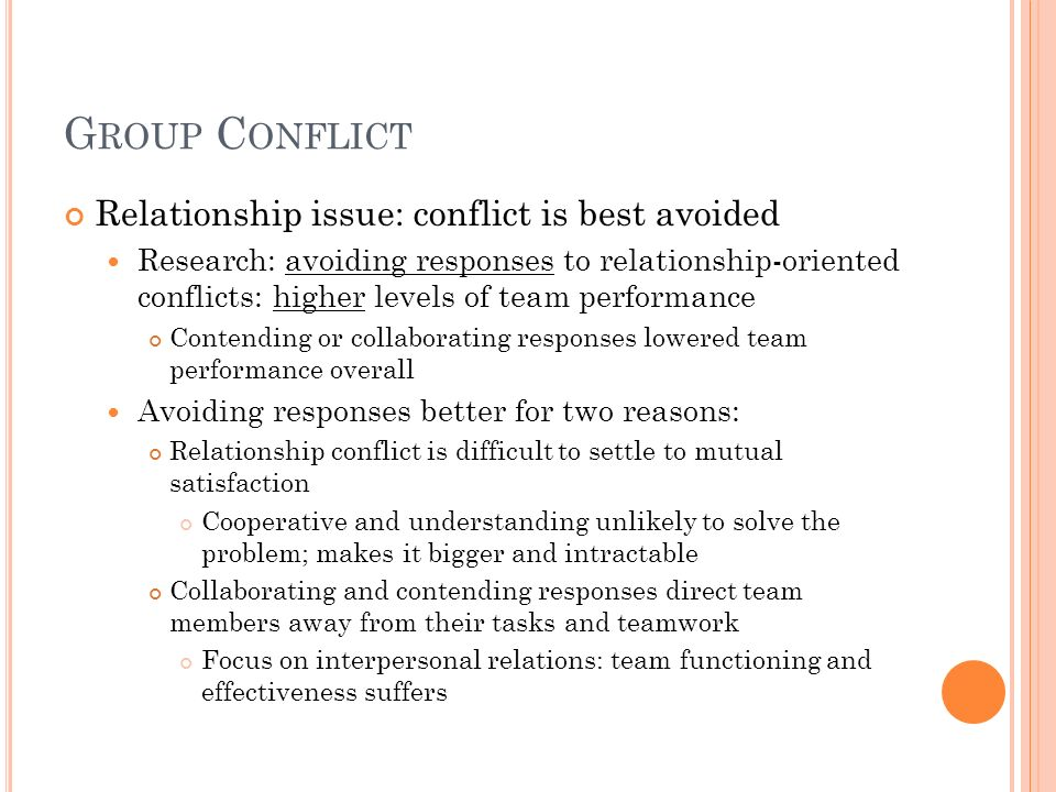 Group Conflict Relationship issue: conflict is best avoided