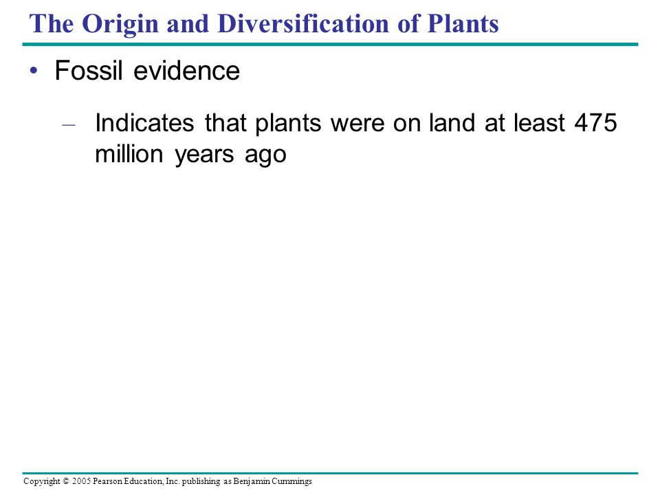 The Origin and Diversification of Plants