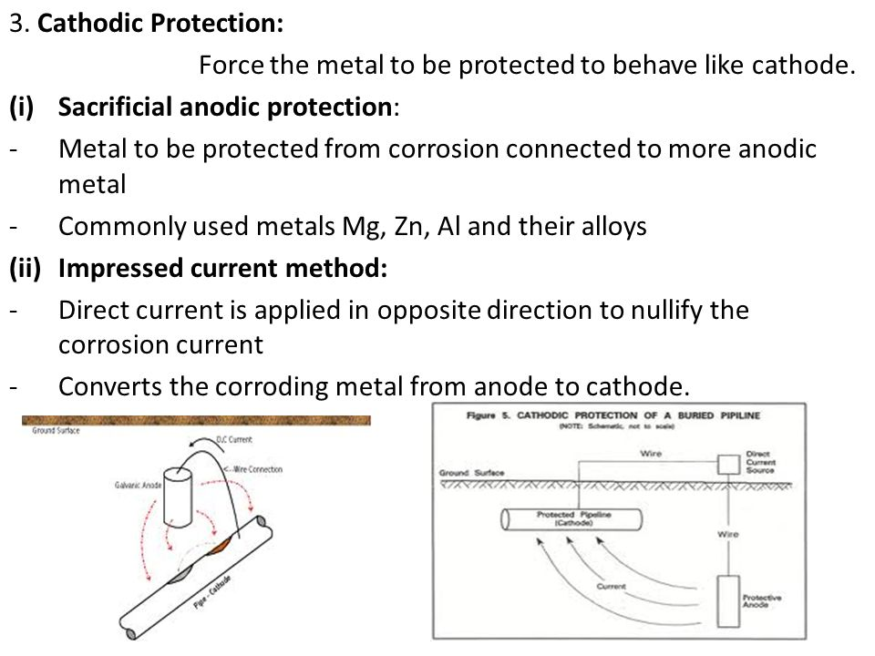 3. Cathodic Protection: Force the metal to be protected to behave like cathode. Sacrificial anodic protection: