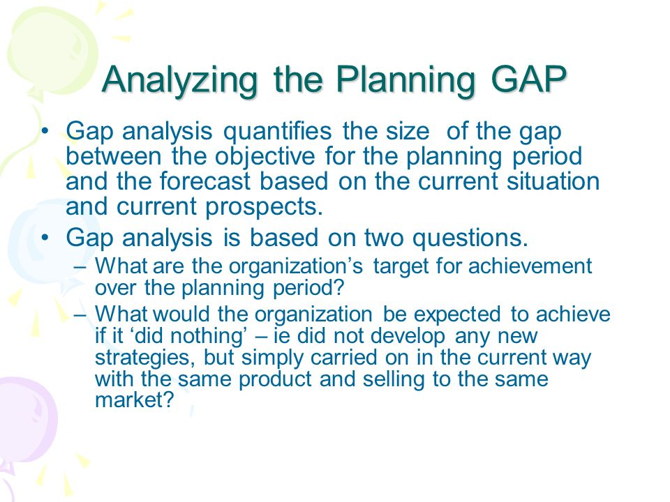 Analyzing the Planning GAP