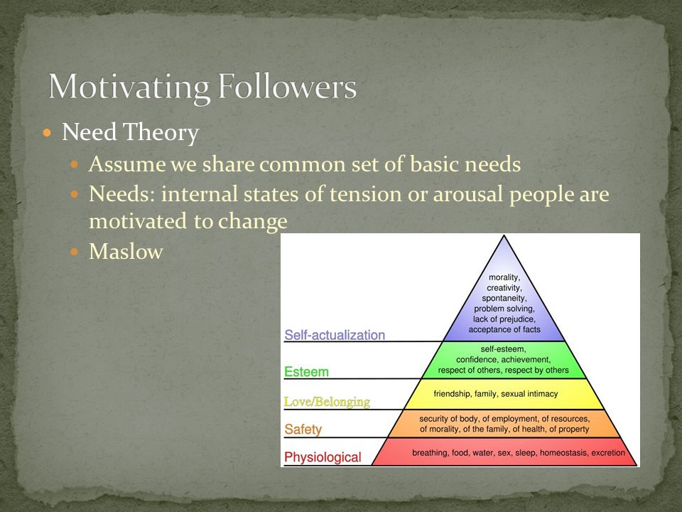 Motivating Followers Need Theory