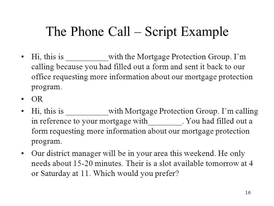 Sample collection phone call script