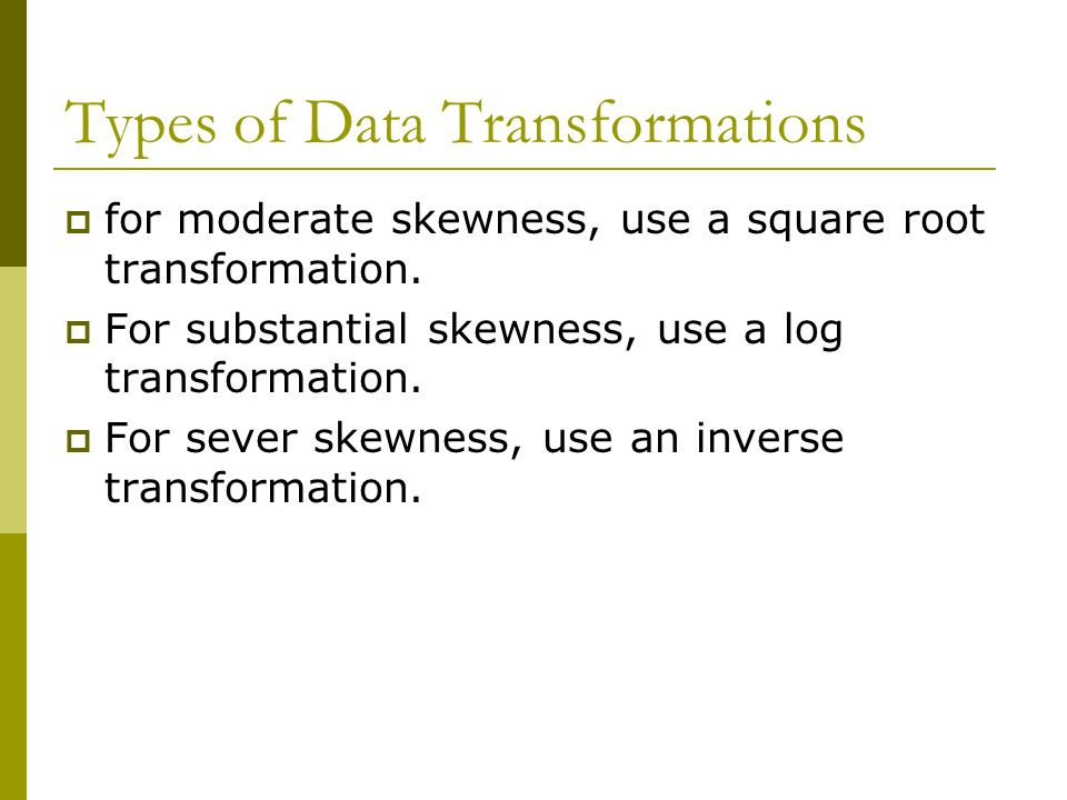 Types of Data Transformations