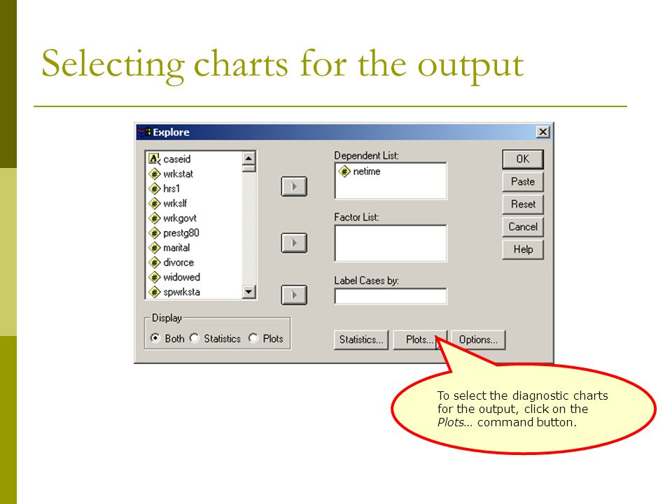 Selecting charts for the output