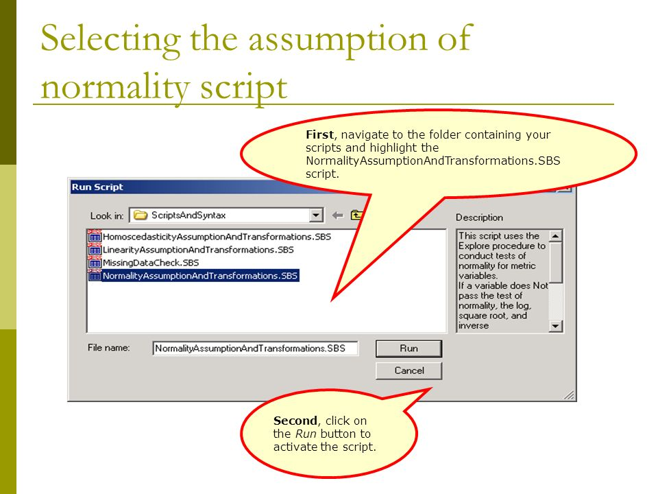Selecting the assumption of normality script